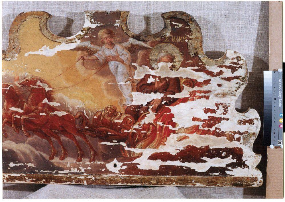 Фрагмент иконы «Огненное восхождение Илии пророка» дореставрации