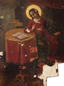 Фрагменты иконы «Благовещение» впроцессе ипосле реставрации