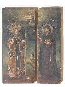 Части иконы «Св. Григорий Богослов исв. Ксения» дореставрации