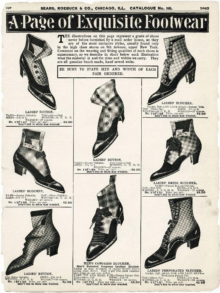 "Страница из каталога «Sears, Roebuck & Co.» 1907 г., где представлены семь моделей обуви для дам и одна для мужчин The page from the catalog ""Sears, Roebuck & Co."" 1907, which presents seven models of shoes for ladies and one for men"