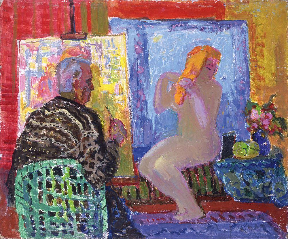 Н.Глущенко. Художник имодель. 1970‑е гг. К., м. 86,5×105,1см