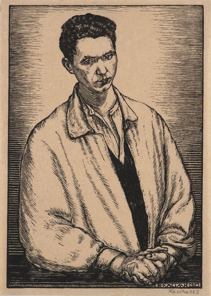 В.Касиян. Автопортрет. 1923. Б., ксилография. 27,6×19,5см