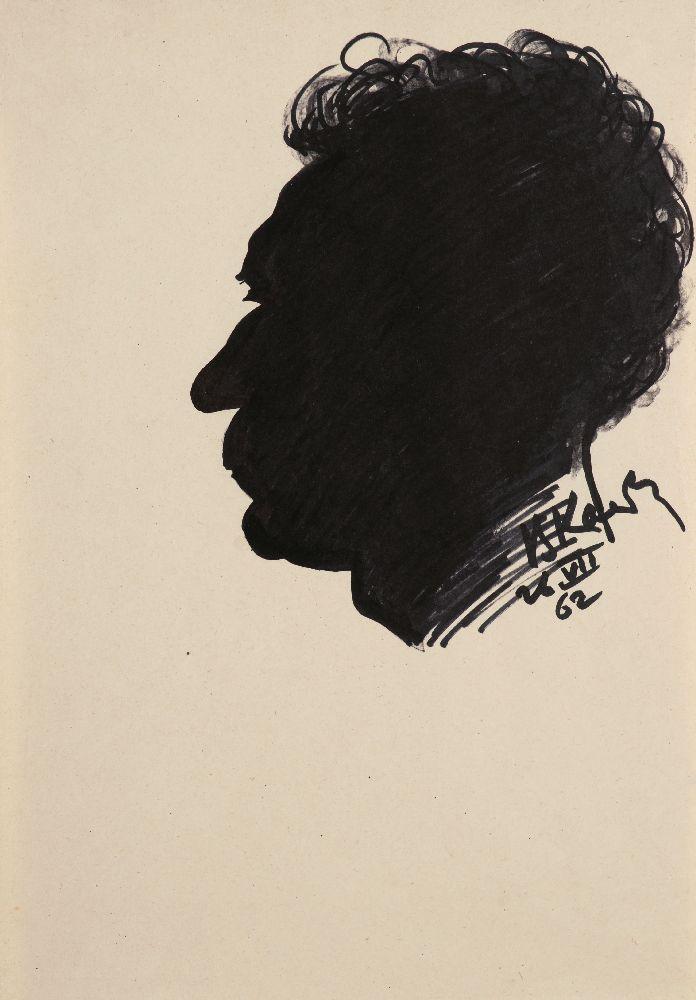 В.Касиян. Автопортрет. 1962. Б., чёрный фломастер. 29,7×20,8см