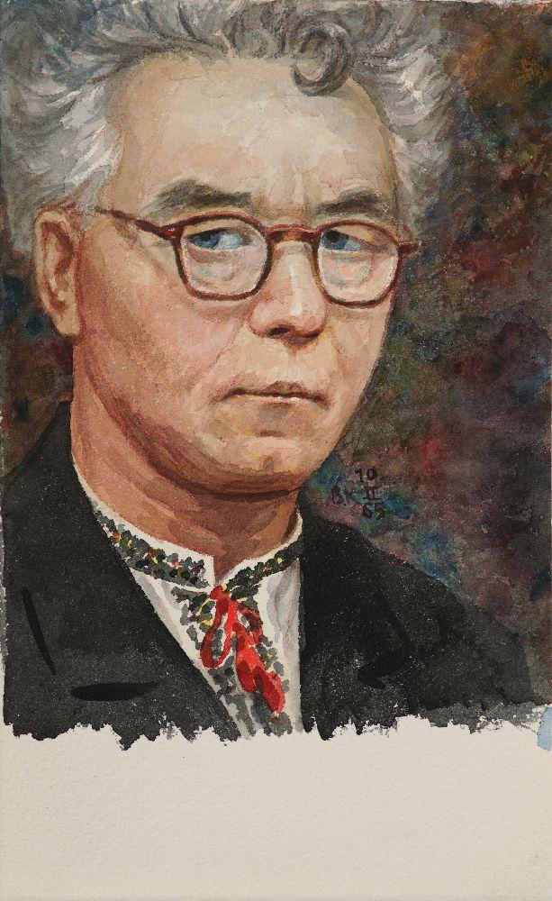 В.Касиян. Автопортрет. 1965. Б., акв. 28×17,1см
