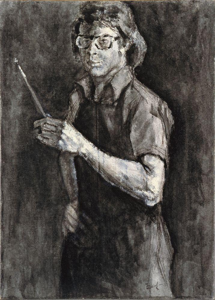 Э.Дымшиц. Автопортрет. 1981. Х. нак., м., акв. 70×50см