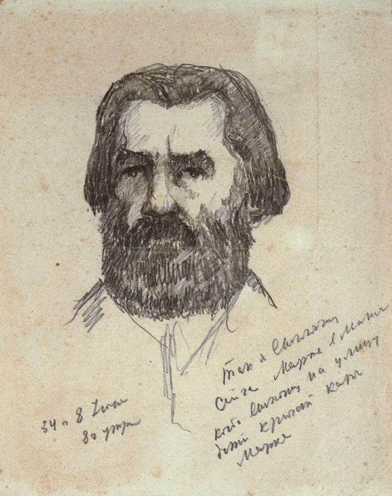 К.Малевич. Автопортрет. 1934. Б., кар. 21,5×17см