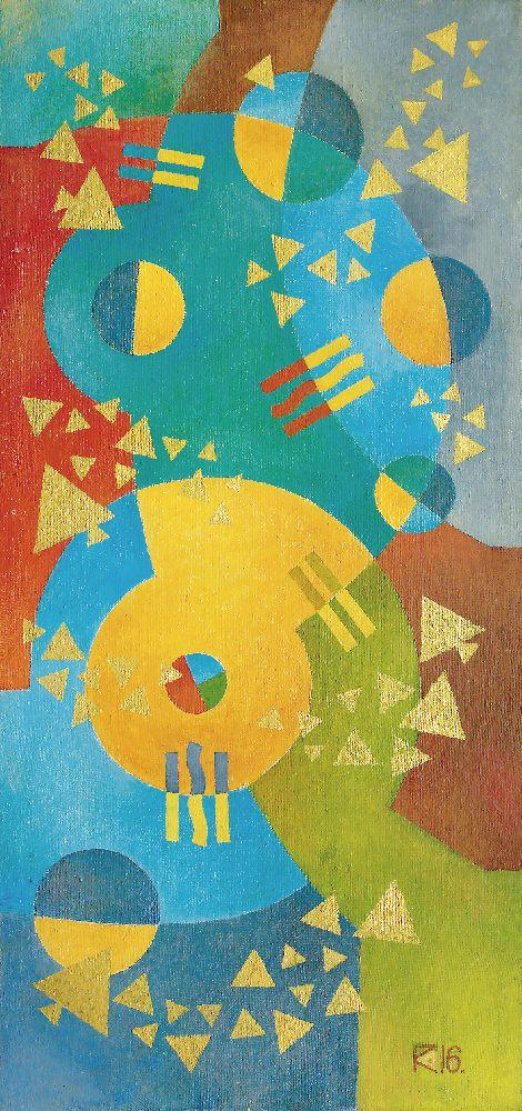 Музыка Римского-Корсакова (Одинокая рыбка). 2016. Холст, масло. 136×64см