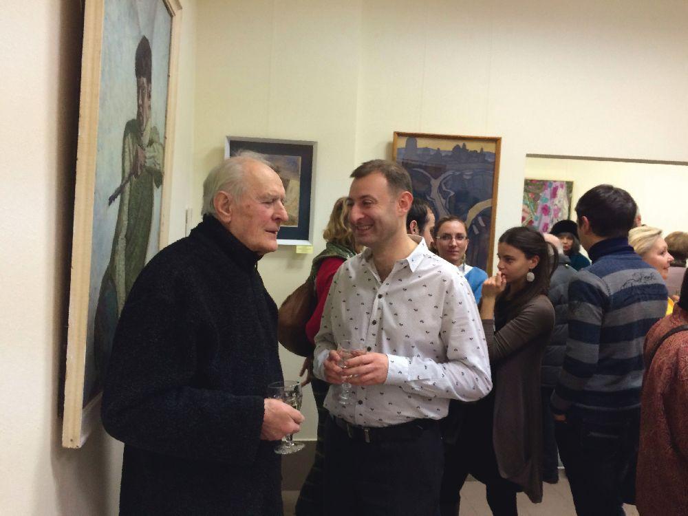 Борис Довгань та Олексій Захарчук (молодший) на відкритті виставки «Київська колекція». Листопад 2014 року