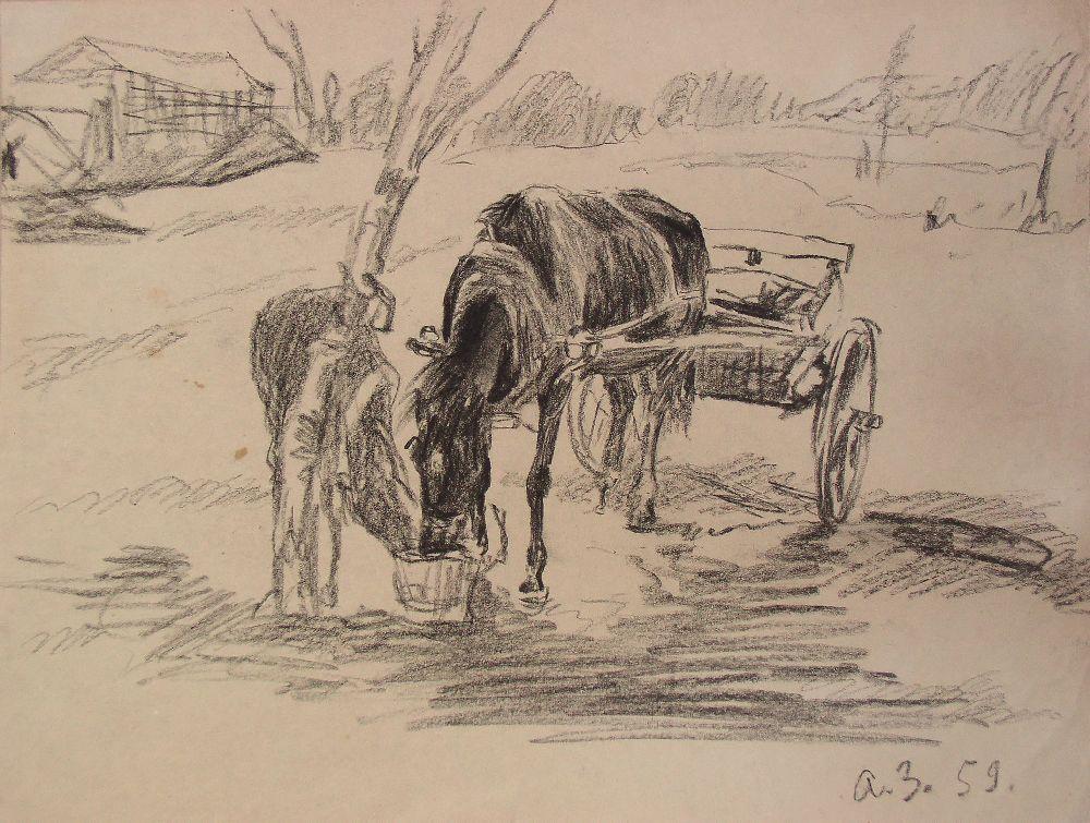 Кінь та лоша. 1959. Папір, олівець. Власність родини художника