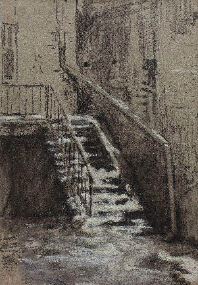 Куточок двору. Сходи. 1954. Папір, олівець. Власність родини художника