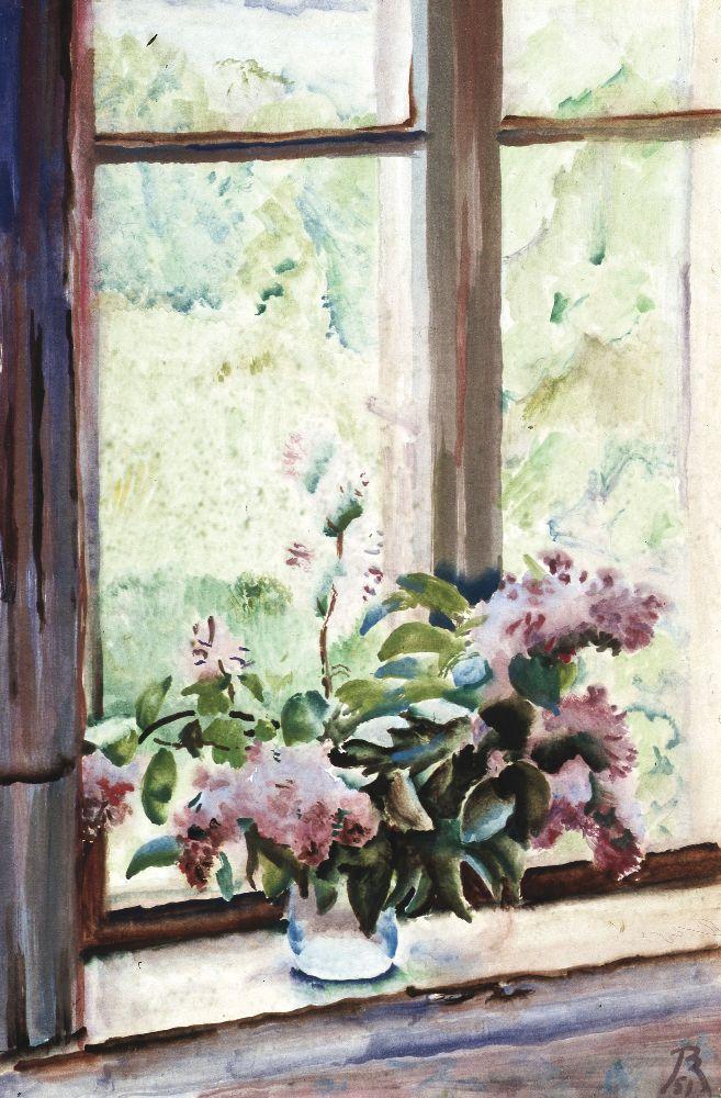 В.Конашевич. Вікно. Квіти. 1951. Папір, акварель. 65×44см