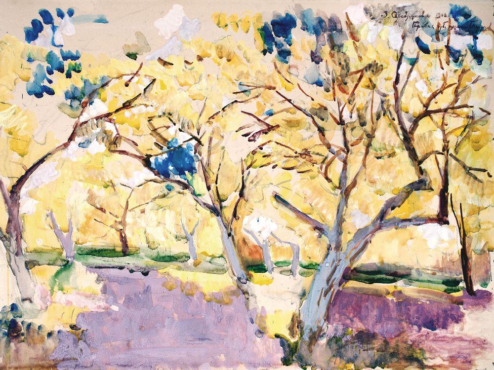 З.Серебрякова. Фруктовий сад. 1908. Папір, акварель, гуаш. 52×70см