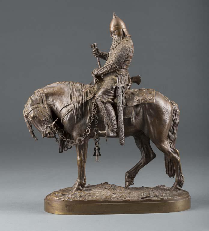 Евгений Лансере (1848–1886). Витязь на коне. Бронза. Выс. 40,8 см. Эстимейт € 9 000