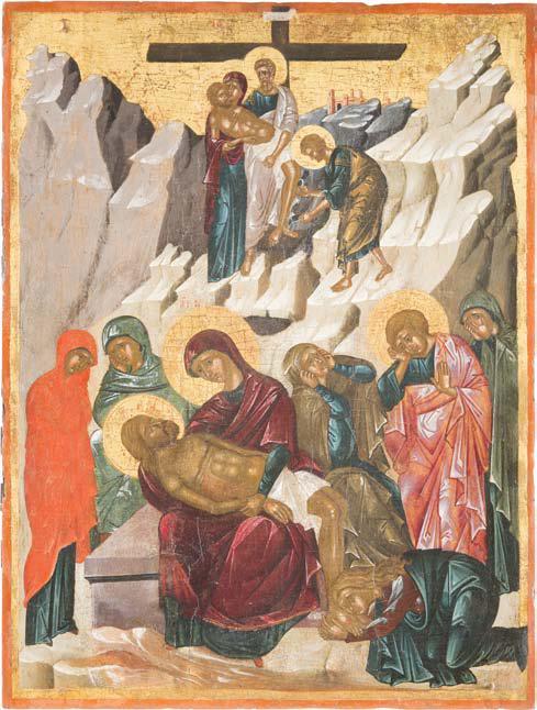 Снятие с креста и Оплакивание Христа. Крит, ок. 1500. 60 × 40 см. Эстимейт € 95 000