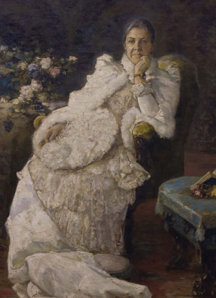 Портрет Эмилии Праховой. Х., м. 200 × 125 см. Музей «Духовні скарби України»