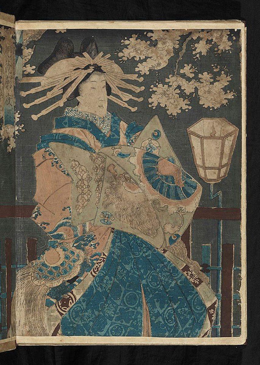 Форзац блокноту з наклеєним відбитком художника Утагава Кунісада